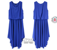 Fashion temperament elastic waist sleeveless irregular skirt chiffon dress