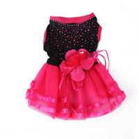 Hot Pink Pet Dog Bling Tutu Dress Lace Skirt Flower Dress Costume