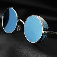 Vintage Round sunglasses metal flower carved metal sunglasses colorful reflective lens women brand sunglasses fashion 0206
