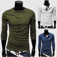 Gaga Deals Men's Long-sleeve T-shirts;Crewneck Delicate placket Solid Color T shirt; Men Pullover Slim Fashion
