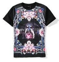 GIV 2014 Summer Women/Men Funny Animal Rose Dog Flowers Galaxy Print Hip Hop Casual 3D Short Sleeve T-Shirt Black Tee Shirts Top