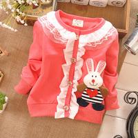 2015 Korean version cartoon Rabbit  Girls cotton shirts Children blouses Baby shirt coat  Free shipping