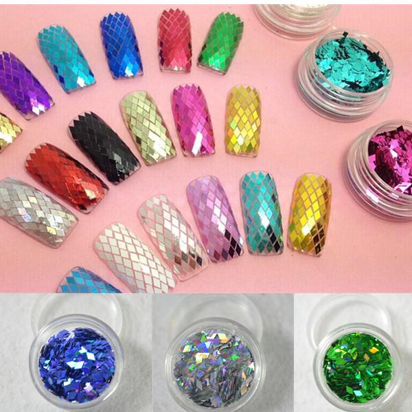 12 Colors New Glitter Diamond Stickers Foil Nail Art Decals Rhombus Paillette Glitter 3D Slice Powder Decorations Set Nail Tools(China (Mainland))