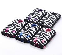 Wholesale 100pcs/lot PC + Silicone Combo Defender Zebra Case Cover for Samsung Galaxy S4 Zebra Case,DHL Free Shipping