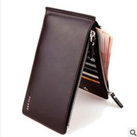 New arrival 2015 Fashion portefeuille Men leather solid double zipper & hasp slim wallets coin pocket carteira masculina couro