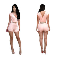 Women Shorts Summer 2014 Sleeveless Tops Pink Deep V-Neck Bodycon Bandage Jumpsuit Fashion Party Sexy Clothing Celebrity