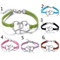 Fashion Handmand Silver Tone infinity charm MIX colors Bracelet suede leather bracelet ,bracelet Best gift