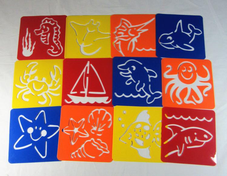 12PCS/LOT. Ocean animal stencil,Birthday gift,Christmas gift,Summer crafts,Kids drawing stencils.Early educatioanl toys(China (Mainland))