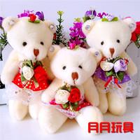 free shipping, teddy bear  Toy, wedding gift bear rag doll,stuffed plush toy 100pcs/lot