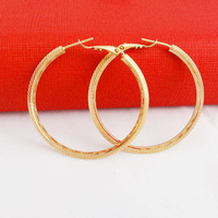 2014 New Fashion Jewelry 24k gold plated Round Hoop Earrings Women Gold Jewelry Hot Selling Free Shipping GE016