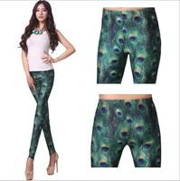 2014 New European and American Models Wild Peacock Bright Dispensation Digital Printing Leggings
