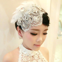 Free shipping!!! Delicate handmade Lace flower rhinestone bride hair accessory wedding accessory bridal accessory