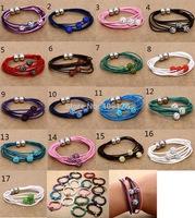 Genuine Leather Crystal ShamballaMagnet Bracelet mixed Colors Free Shipping