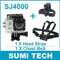 SJ4000 Waterproof Sport Camera Sport CAM DVR DV FULL HD 1080P 1.5'' LCD Screen Camcorder + Head Strap + Chest Belt free shipping