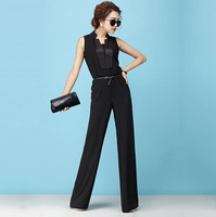 Women Fashion 2014 Jumpsuits & Rompers Long  Playsuits  Zipper Neck Summer Black Pants For Women