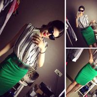 Fashion pleated Women chiffon top slim hip dress set have belt