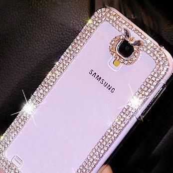 For Samsung Galaxy s2 s3 s4 s4 s3 mini s4 mini note 1 2 3 3D Handmade Luxury Bling Diamond Rhinestone Clear Hard Cell Phone Case(China (Mainland))