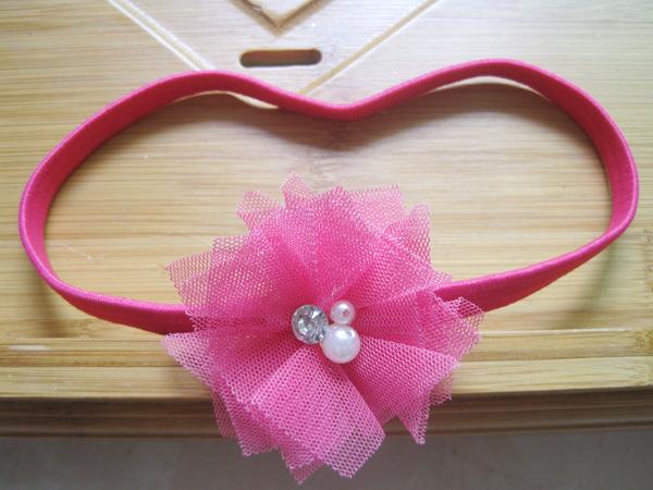 New Design Headband With Ribbon flower elastic head band baby girl Hair Accessory 13 colors 24pcs/lot freeshipping(China (Mainland))