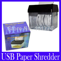 Free shipping Mini USB Paper Shredder with Letter Opener and retail packing .5pcs/lot