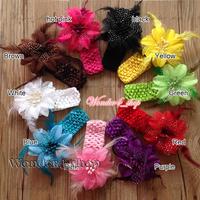 New  HI Quality Cute Baby Infant Newborn Girls Hair Accessories Crochet Headbands Feather Clip Flower Hair Band