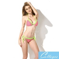 Colloyes 2014 New Sexy Polka Dot + Green Lace Triangle Top with Classic Cut Bottom Bikini Swimwear in Low Price