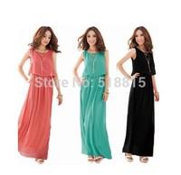 2014 New Summer Bohemian Women Chiffon Ankle-Length Long Dresses Sleeveless Vest Dress Vestidos, 4 Color, S, M, L, XL(TFC016)