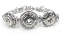 Free shipping three pieces mini 1.2cm metal button charm Bracelet  DIY Fashion metal snap button Jewelry