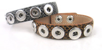 Free shipping  brown snake leather pocket sized 1.2cm 5 pieces metal button charm Bracelet DIY button Jewelry