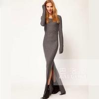Hot new 2014 autumn and winter long section split tight dress women summer dress Slim Dress XL