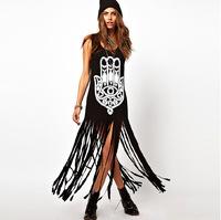 2014 summer dress new hot fashion street fashion models fringed long paragraph dress women summer dress XL