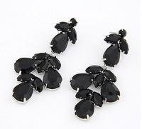 Garden Floral Statement Earrings Black  / White Earrings 2014 New Faux Stone Drop Earrings  cxt98562