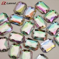 50pcs 13*18mm Multicolor Acrylic Sew On Flatback Diamante Crystal Rhinestone Gems Free Shipping