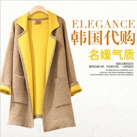 2014 autumn and winter long-sleeve suit collar slim medium-long wool outerwear wool coat female