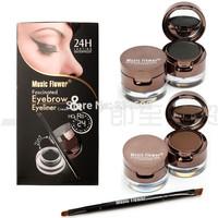 (1set) 4 in 1 Brown + Black Gel Eyeliner Eyebrow Powder Make Up Water-proof and Smudge-proof Cosmetics Set Eye Liner Kit