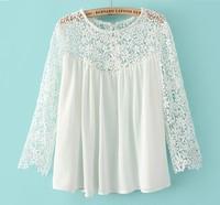 Fashion leisure shirt bud silk chiffon Blouse White Contrast Lace Long Sleeve Loose Blouse fedex free shipping