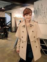 Women's winter jackets coat women cape double breasted slim waist woolen outerwear wool coat