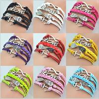 2014 Hot Sale  New DIY Style Jewelry fashion Leather Cute Infinity Charm Bracelet