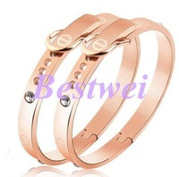 High Quality Free Shipping Rose Gold Plated Men's Women Belt Buckle Diamond Bracelet Couple Bangles Lovers