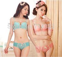 Free Shipping 2014 Small Fresh Sexy Push Up Embroidery Women Underwear Bra Set Women's Ladies Flower Bras Sets with Briefs