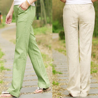 New Arrival Fashion Women's Long Linen Palazzo Pants Summer Flare Pants