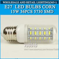 10PCS/lot High brightness led bulb lamp Lights Corn Bulb E27 15W 5730SMD 360 degrees Cold white/warm white AC220V 230V 240V