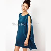New ariival women summer sleeveless dress fashion elegant loose double layer chiffon dress solid casual XS-XXL Women's Clothing