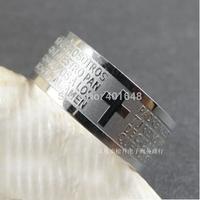 Stereo feeling stainless steel men's bible cross rings Jesus Lord rings for men