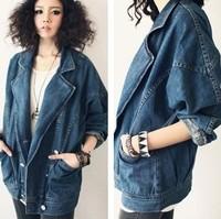2014 fashion vintage unisex suit collar denim jacket denim jacket female outerwear