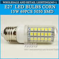 2PCS/lot High brightness led bulb lamp Lights Corn Bulb E27 15W 5050SMD 360 degrees Cold white/warm white AC220V 230V 240V