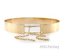 2014 new Women Full Metal Mirror Waist Belt female Metallic Gold Plate Wide Obi Band With Chains Lady Punk Rocky