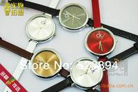 10pcs/lot Fashion Personality Brief Transparent Ladies Engraved With Brand LOGO Women Quartz PU Leather Strap Wrist Watch