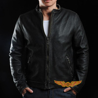 New 2014 Spring Men Vintage Classic stand collar Europe 100% genuine cowhide leather casual jacket for harley motorcycle style