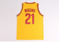 2014 Cleveland Scholar  #21  Andrew Christian Wiggins New  White Yellow  Red Basketball Jersey Fabrics   Free  Shipping