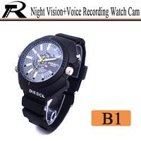 2014 Hot sale HD 1080P IR night vision hidden camera watch/mini dvr with HD PC web camera function free shipping